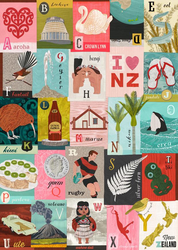 New Zealand alphabet wrap