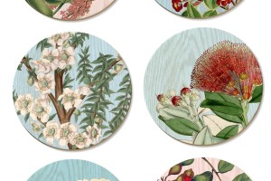Vintage NZ botanical coasters