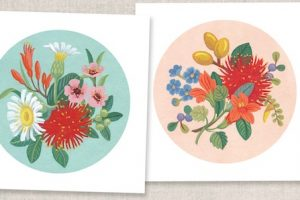New Zealand folk styled native flowers gouache paintings by Tanya Wolfkamp, Wolfkamp and Stone. 2019 designer fashion greeting cards in contemporary colour palette.