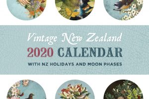 Vintage New Zealand 2020 calendar designed by Tanya Wolfkamp. 12 decoupage, collage images of NZ flowers, plants, butterflies, moths and birds with Victorian ephemera. Vintage style wall claendar. Victorian calendar