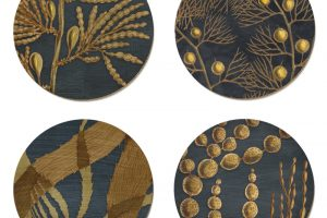 New Zealand Seaweed coasters by Tanya Wolfkamp. Four designs of NZ brown seaweeds with matching placemats.