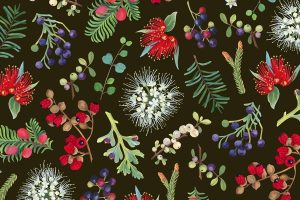 NZ native berries and conifers Christmas gift wrap by Tanya Wolfkamp