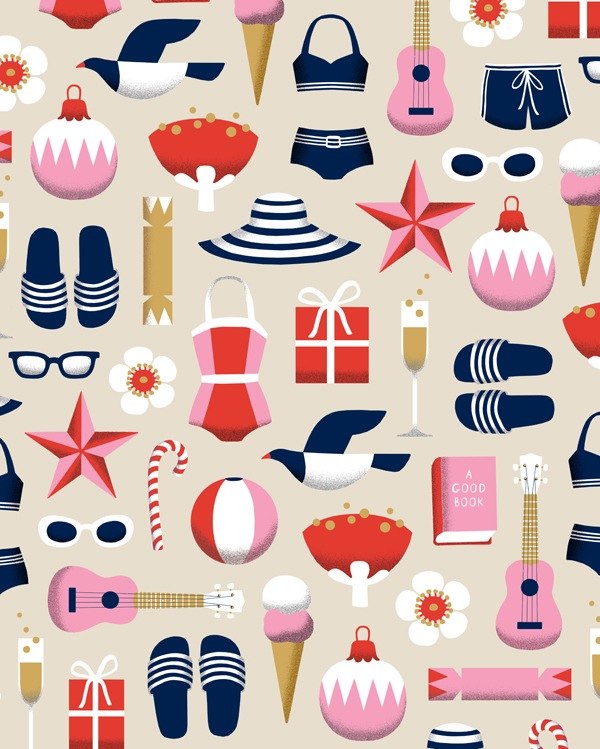 NZ Summer style Christmas gift wrap by Wolfkamp and Stone