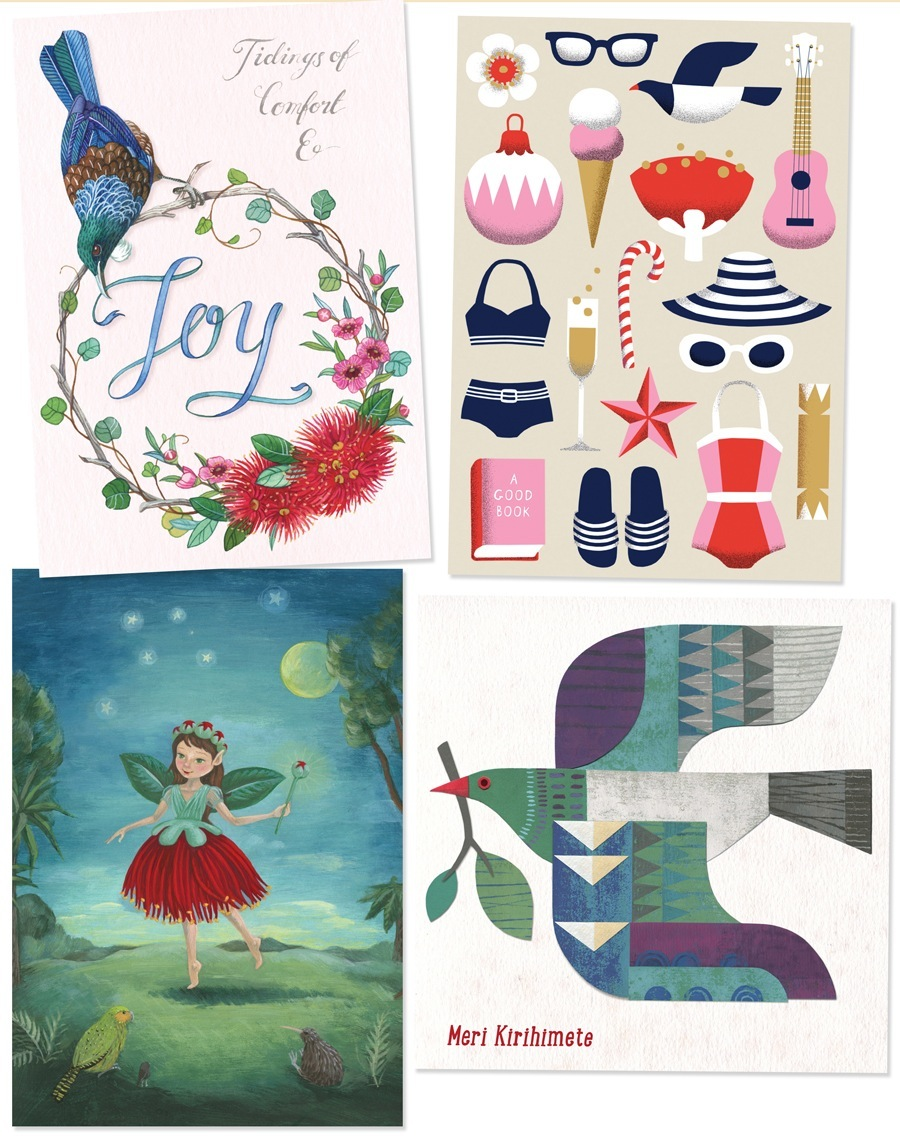 New Zealand designer Christmas cards by Wolfkamp and Stone. Pohutukawa, tui, kereru and NZ summer cards