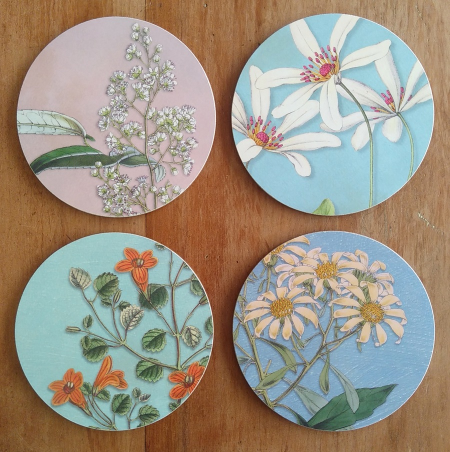 Tanya Wolfkamp 2020 coaster collection of NZ native flowers
