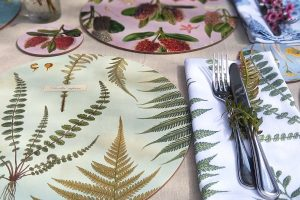 New Zealand native botanical placemats and coasters by Tanya Wolfkamp