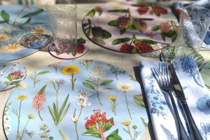 NZ native flower placemat and matching cotton napkin by Tanya Wolfkamp