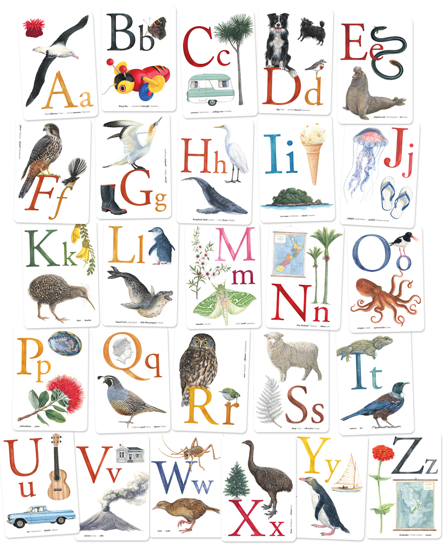 Kiwi alphabet set in English and Te Reo designed by Tanya Wolfkamp, Wolfkamp and Stone