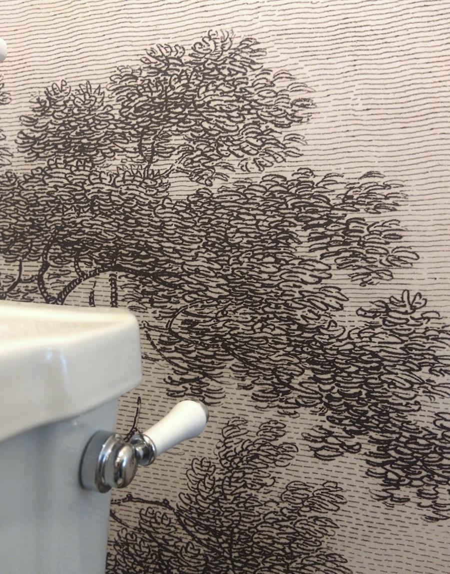 Detail of custom wallaper mural Wildscape by Tanya Wolfkamp for Resene paints, half Bokara Grey colourway